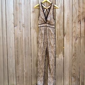 Nude and Black Lace Jumpsuit